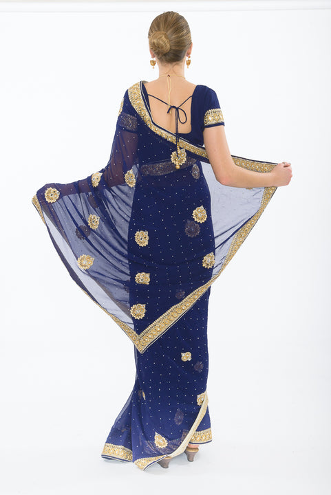 Perfect Sangeet Party Ready-Made Pre-Pleated Sari