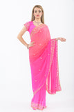 Ombre Pink with Diamond Border Party Wear Sari