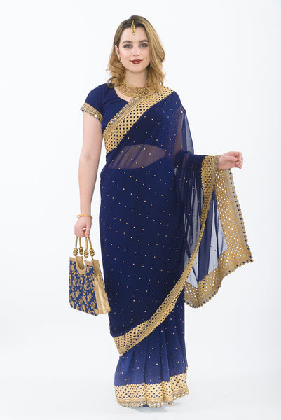 Cosmic Navy Blue and Gold Ready-Made Pre-Pleated Sari