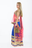 Dazzling Royal Blue and Pink Silk Lehenga - Side