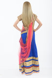 Dazzling Royal Blue and Pink Silk Lehenga - Back