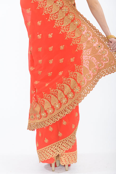 Summer Citrus Ready-Made Pre-Pleated Sari
