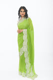 Lime Green with Diamond Border Party Wear Sari