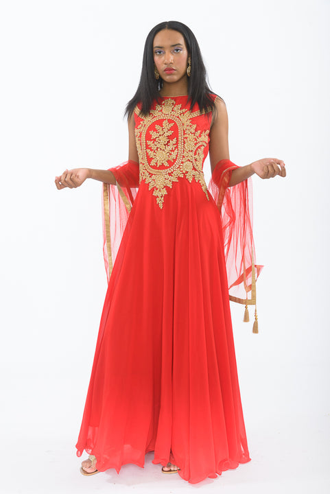 Red and Gold Indo-Western Anarkali Gown - Side