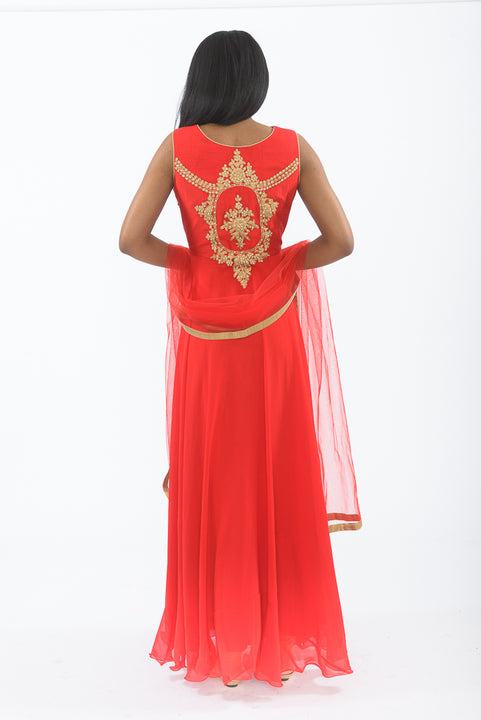 Red and Gold Indo-Western Anarkali Gown - back