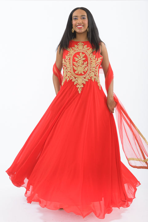 Glamorous Red and Gold Indo-Western Long Anarkali Gown
