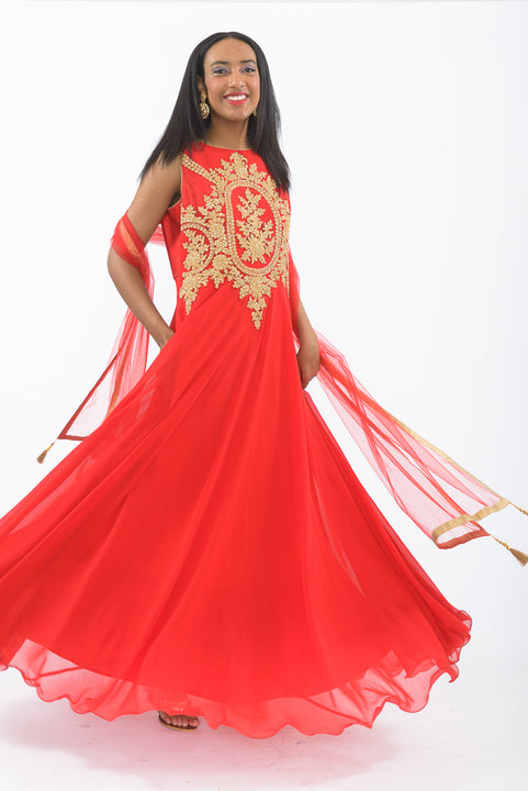 Red and Gold Indo-Western Anarkali Gown - Twirl
