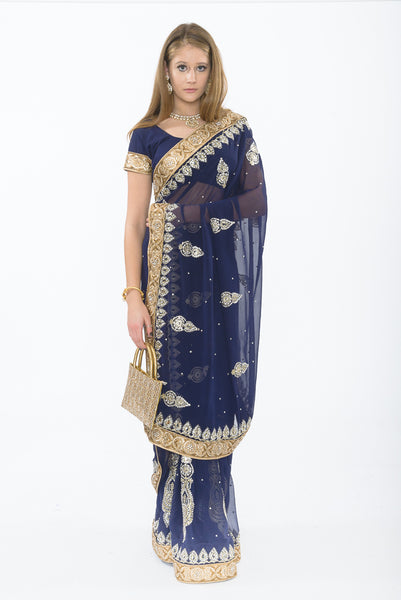 Pale Moonlight Navy Partywear Sari