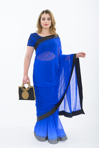 Farrow Royal Blue Ready-Made Pre-Pleated Sari