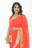 Enticing Orange Party Wear Sari