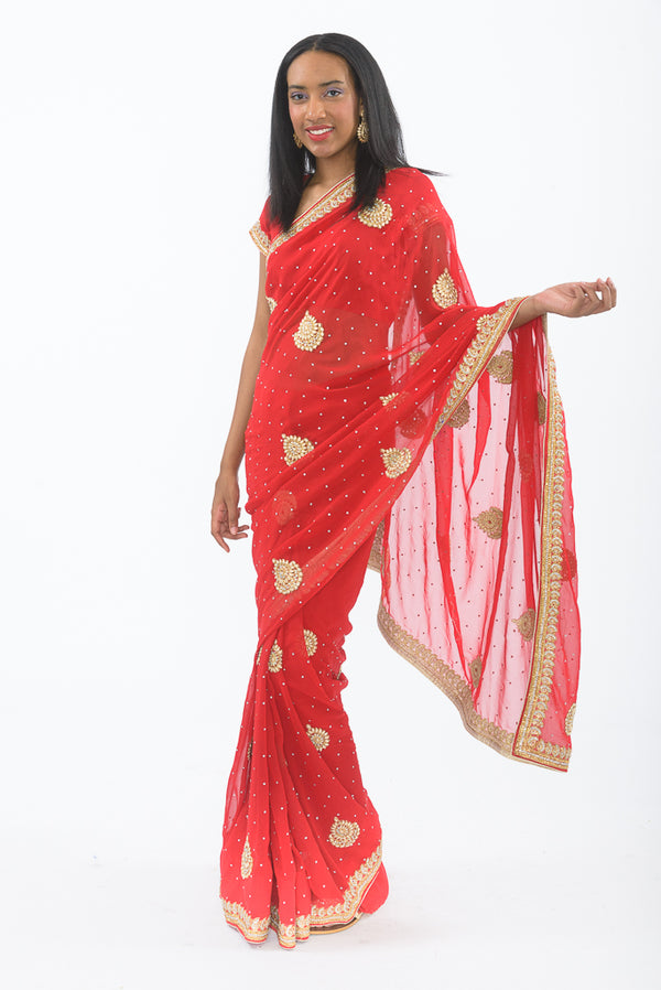 Red Rose Ready-Made Pre-Pleated Sari