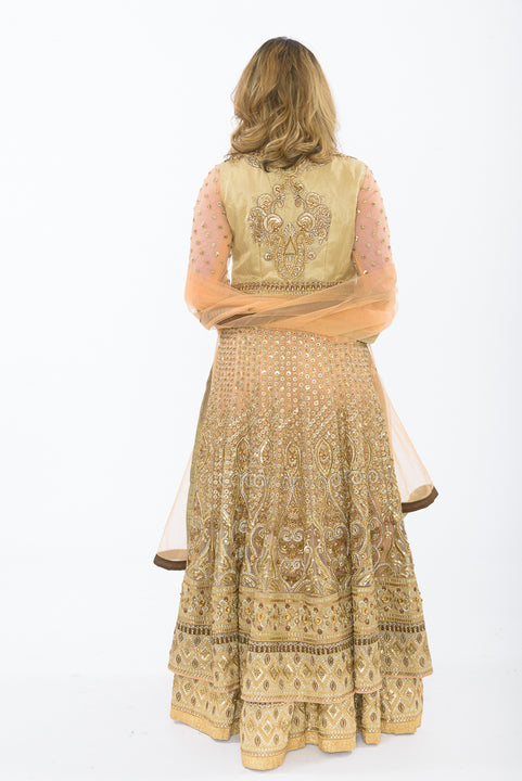 Majestic Lace Gold and Peach Indo-Western Lehenga