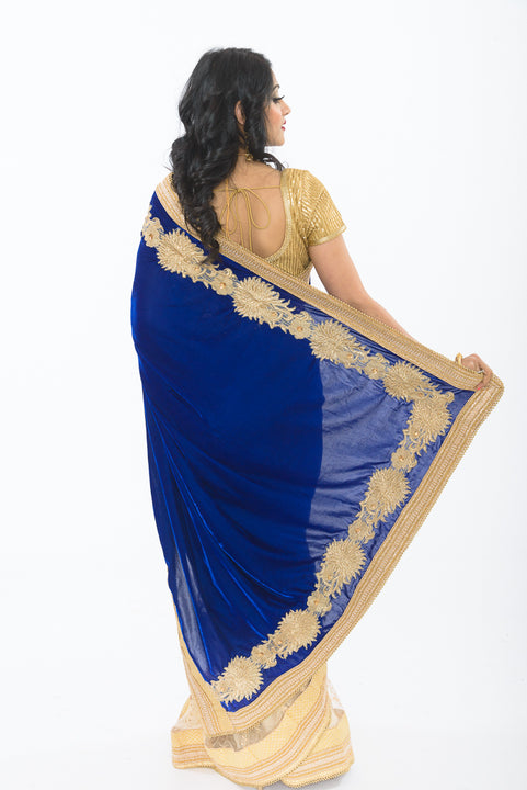 Crown Jewel Velvet Ready-Made Pre-Pleated Sari