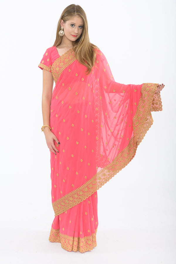 Charming Pink Ready-Made Pre-Pleated Sari