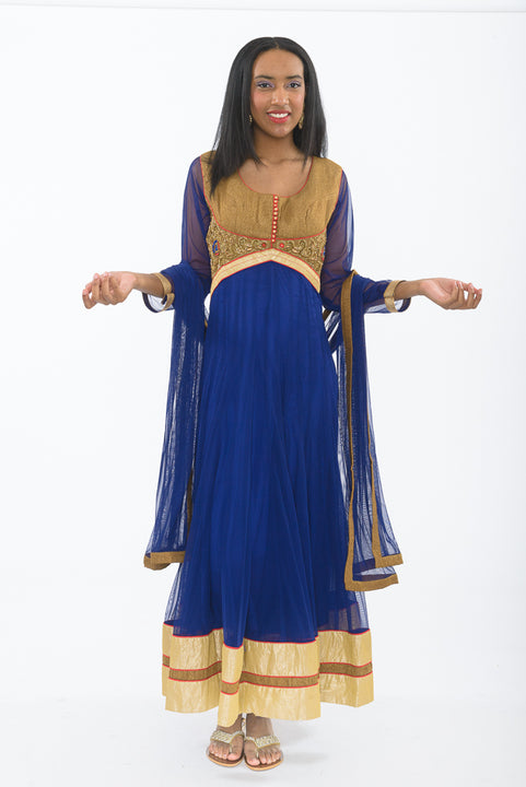 Egyptian Blue Indo-Western Anarkali Gown - Front