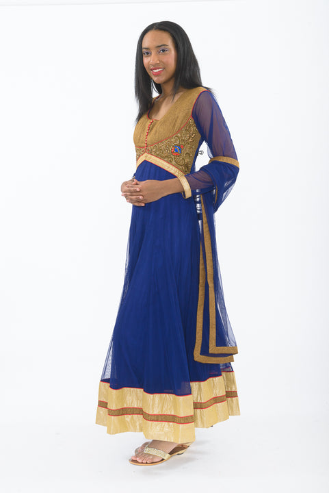 Egyptian Blue Indo-Western Anarkali Gown - Side