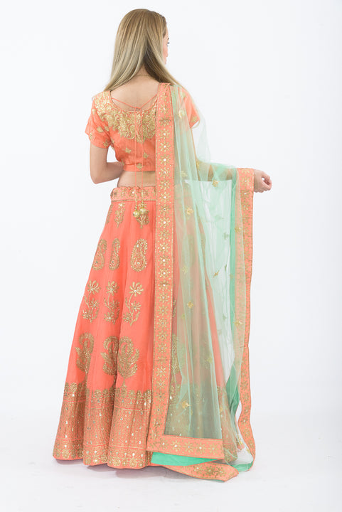 Madison Peach Heavy Bridal Lehenga Choli L1502
