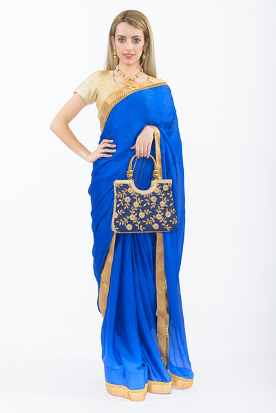 Elegant Royal Blue Party Wear Sari