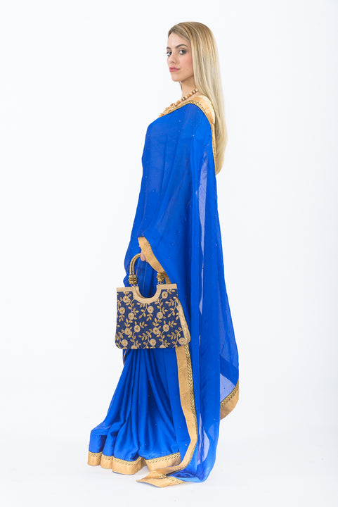 Classic Royal Blue Modern Indian Wedding Sari