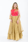 Regal Pink & Gold Lightweight Lehenga