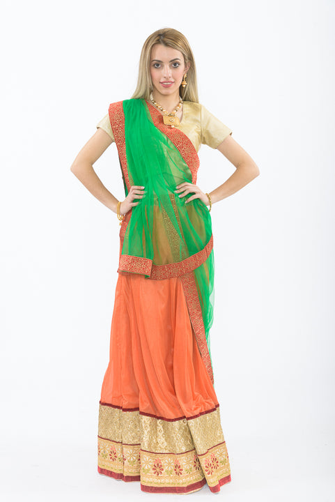 Orange & Green Light Weight Lehenga - Front