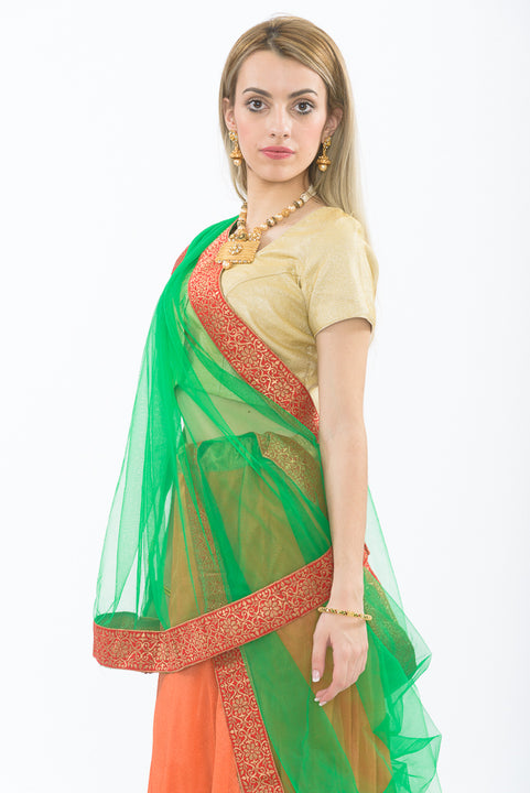 Orange & Green Light Weight Lehenga - Closeup