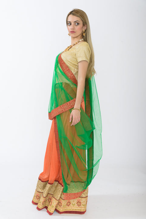 Orange & Green Light Weight Lehenga-Side