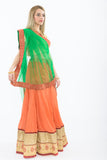 Orange & Green Light Weight Lehenga- Right