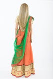 Orange & Green Light Weight Lehenga - Back