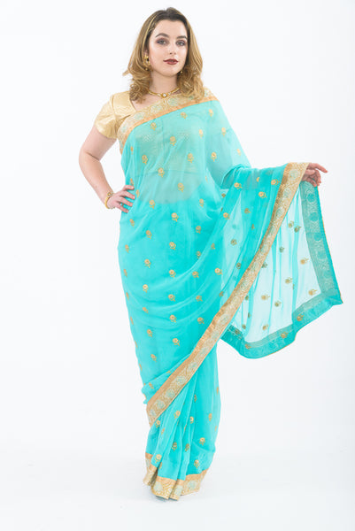 Mint Crush Blue Party Wear Sari