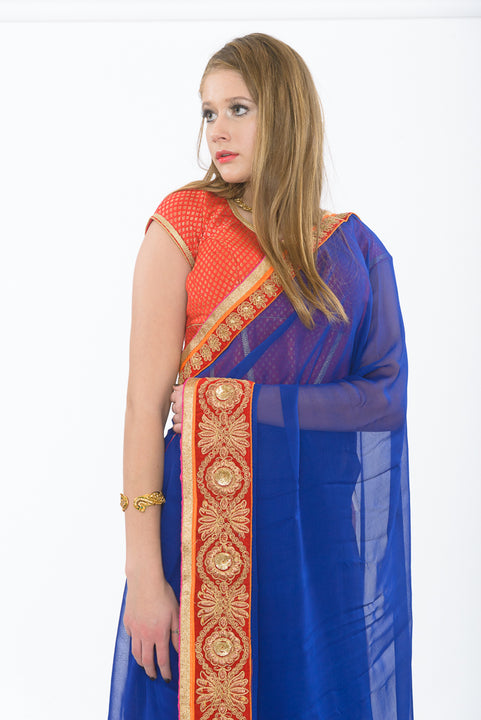 Traditional Indian Beauty Royal Blue Ready-Made Pre-Pleated Sari