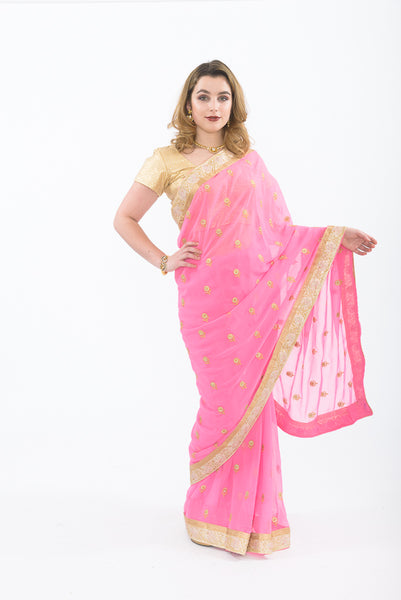 Princess Pink Ready-Made Pre-Pleated Sari