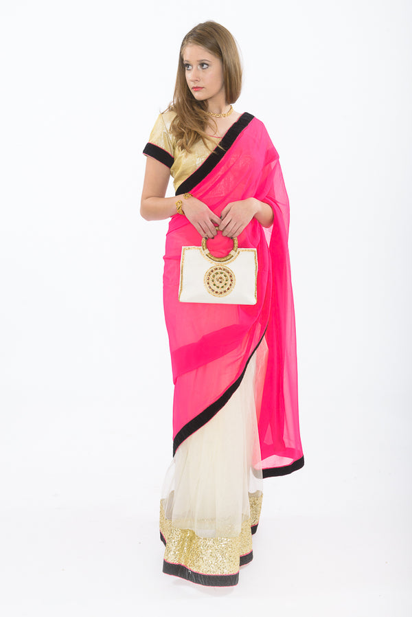 Light and Breezy Pink Modern Style Bollywood Party Sari