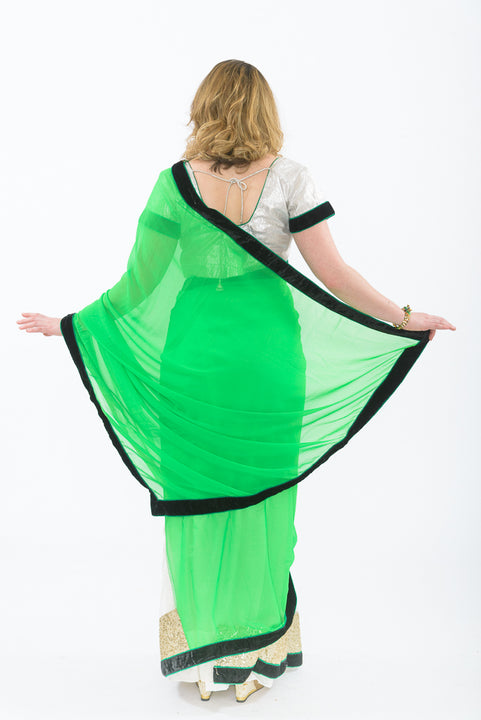 Light and Breezy Green Modern Style Bollywood Party Sari