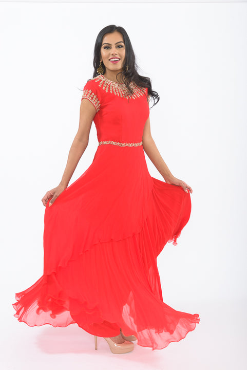 Red Romance Indo-Western Anarkali Gown