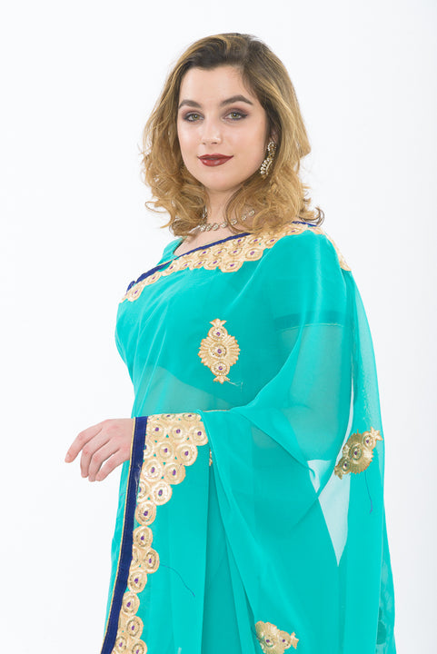 Seaside Teal Sari