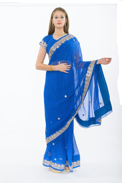 Dehli Dance Royal Blue Partywear Sari