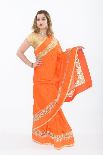 Sun Kissed Orange Ready-Made Pre-Pleated Sari