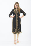 Smoke and Gold Long Kurti with Churidar - Front