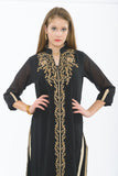 Smoke and Gold Long Kurti with Churidar - Close up