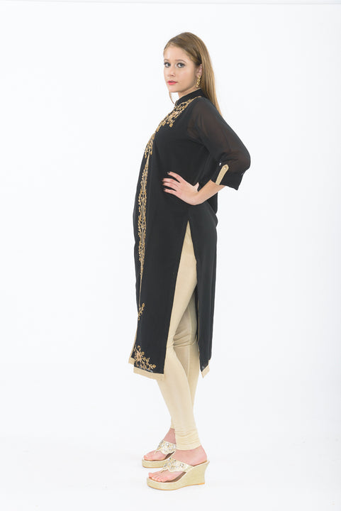 Smoke and Gold Long Kurti with Churidar - Side