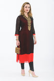Black and Red Long Kurti - Side
