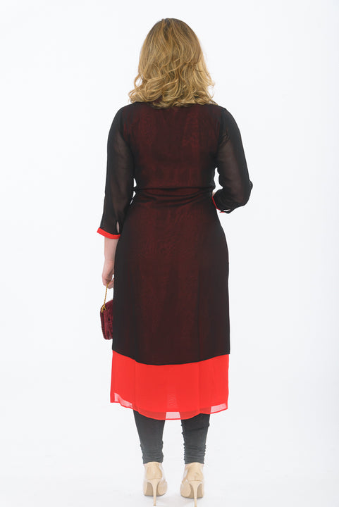 Black and Red Long Kurti - Back