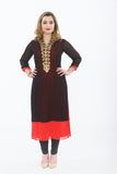 Black and Red Long Kurti - Front
