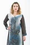 Beautiful Gray and Black Embroidered Long Kurti