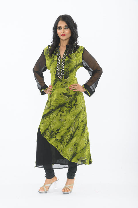 Green and black traditional indian kurti