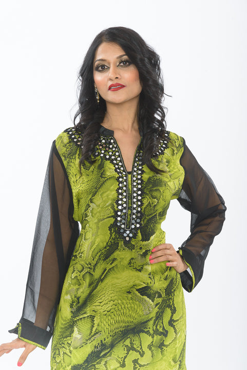 Green and black traditional indian kurti - close up