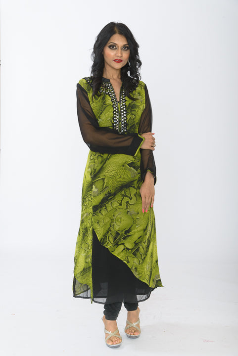 Modern Green and Black Long Kurti