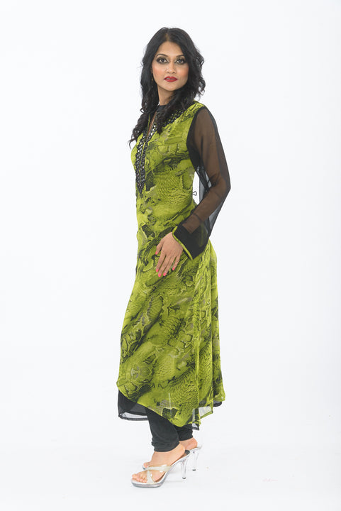 Green and black traditional indian kurti - side