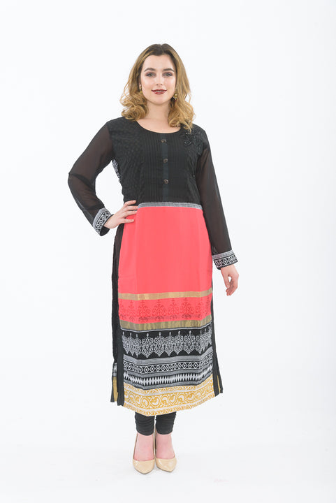 Black and orange long kurti with leggings - front